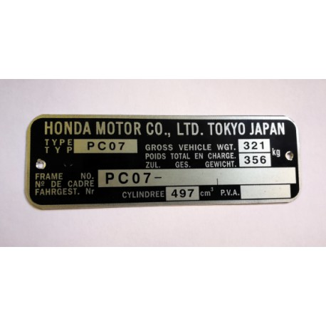 Honda FT500 pc07 Id Plate