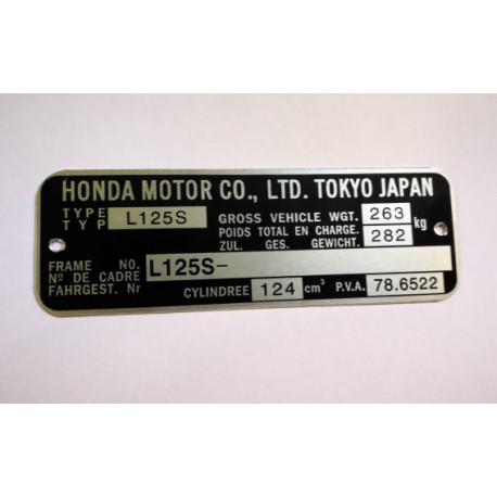 Honda 125 XR / XLS L125S Id Plate