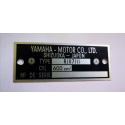 Yamaha 600 FZ6 - RJ07LLL Data Plate - Identification plate
