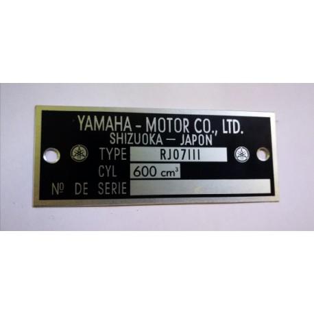 Yamaha 600 FZ6 - RJ07LLL Data Plate - Identification plate