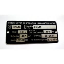 Plaque de cadre Suzuki