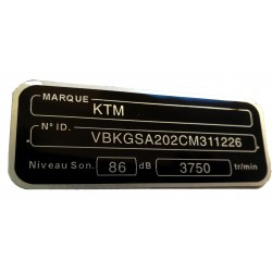 Adhesive motorcycle frame label - French