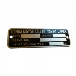 Honda CB VIN Plate US / English Vers