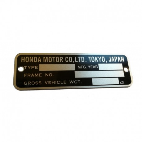 Honda CB Identification Plate English Version