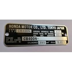 Plaque de cadre Honda CB 400 N