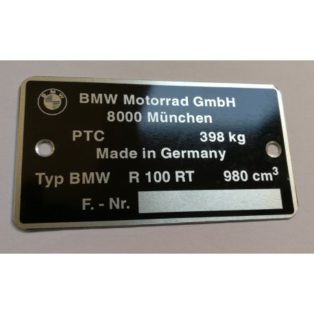 BMW R100 RT GS R80 G S Data Plate