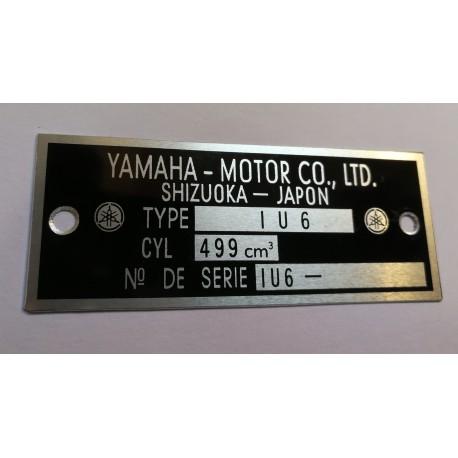 Yamaha 500 XT Data Plate - Identification plate