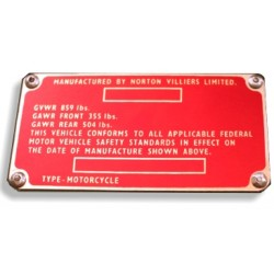 Norton Commando Identification Plate - Data plate