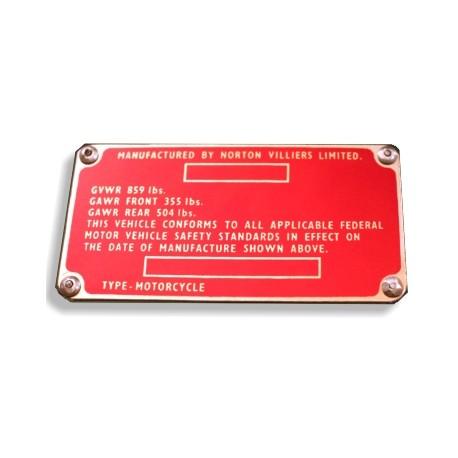Norton Commando Identification Plate - Data plate