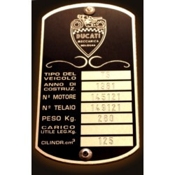 Ducati Meccanica Id Plate - Data plate