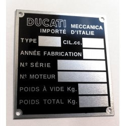 Ducati Meccanica identification plate - French import.