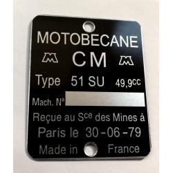 Motobécane Motoconfort Id plate - Data plate