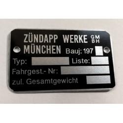 Zundapp id plate - Zundapp Identification plate