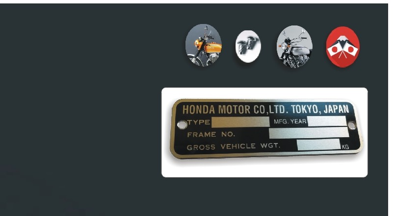 Data plate for Honda 750 Four.