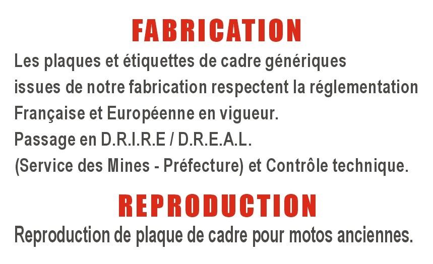 Les plaques génériques, issues de notre fabrication respectent la réglementation Françaises et Euro.
